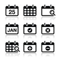 Black calendar icons reflection white Stock Image