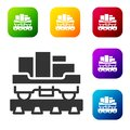 Black Cargo train wagon icon isolated on white background. Full freight car. Railroad transportation. Set icons in color square Royalty Free Stock Photo