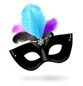 Black carnival mask with pink, blue, black feathers on white background Royalty Free Stock Photo