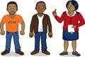 Black cartoon men and nurse two young african a clinic aids awareness Stock Photos