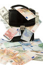 Black case with euros and dollars Royalty Free Stock Photo