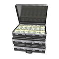 Black case with money isolated on white background d rendering Royalty Free Stock Image