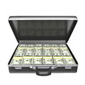 Black case with money isolated on white background d rendering Stock Photography