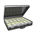 Black case with money isolated on white background d rendering Stock Photos
