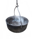 Black cast iron kettle isolated. Royalty Free Stock Photo