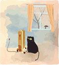 Black cat basking near the heater vector illustration Royalty Free Stock Photo