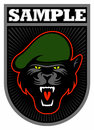 Black cat face with the green beret, military patch vector image.