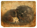 Black cat and gerbil. Old postcard. Royalty Free Stock Photography