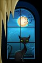 Black cat in halloween night vector illustration of Royalty Free Stock Photography