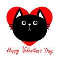 Black cat head icon. Red heart. Cute funny cartoon character. Happy Valentines day Greeting card. Sad emotion. Kitty Whisker Baby
