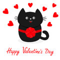 Black cat icon with round bow. Red heart set. Cute funny cartoon character. Happy Valentines day Greeting card. Kitty Whisker Baby