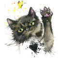 Black cat illustration with splash watercolor textured background.
