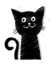 Black cat illustration of a on white background Stock Photos