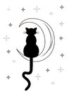 Black cat with long tail sitting on the moon Royalty Free Stock Photo