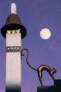 Black cat on a mysterious roof at the moonlight Royalty Free Stock Photo