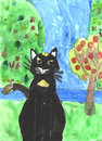 Black cat on the nature of children s work Stock Photo