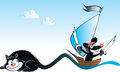 Black cat and pirate mouse vector illustration of sailing on tail of Royalty Free Stock Images