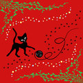 Black cat playing with ball of yarn over red hand drawing vector illustration Royalty Free Stock Images