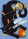 Black cat playing with Christmas decorations holiday card Royalty Free Stock Photo