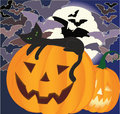 Black cat on a pumpkin laying smiling halloween bats and big moon background Stock Photos