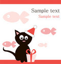 Black cat in  santa's hat with gift Stock Images