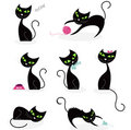 Black cat silhouette collection Stock Photography