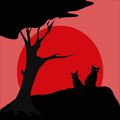 Black cat silhouette and sun Royalty Free Stock Photography