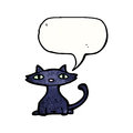 Black cat with speech bubble cartoon Royalty Free Stock Images