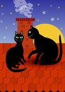 Black cat with tomcat by chimney on red roof, dark evening sky with stars on background. Vector illustration for fancier and suppo