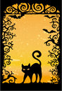 Black cat vector grunge wallpaper Royalty Free Stock Photography