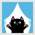 Black cat in the window. Curtain with bow. Open hand paw print. Kitty reaching for a hug. Funny Kawaii animal. Baby card. Cute car Royalty Free Stock Photo