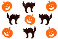Black cats and jack o lanterns foam cat lantern cut outs isolated on white background Stock Image