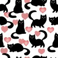 Black cats and kittens silhouettes and pink hearts on white background. Seamless pattern, vector Royalty Free Stock Photo