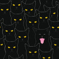 Black cats pattern seamless with staring and one screwed up Royalty Free Stock Photo