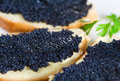 Black caviar on a slice of bread and butter Royalty Free Stock Photos