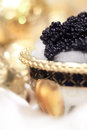 Black caviar still life elegant styling on ice macro Royalty Free Stock Photos