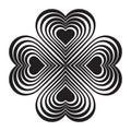 Black Celtic heart knot - stylized symbol. Made of hearts. Royalty Free Stock Photo