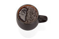 Black ceramic cup on white background full of tea isolated Royalty Free Stock Photos
