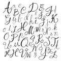 Black chalk pencil alphabet letters.Hand drawn written Royalty Free Stock Photo