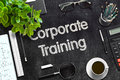 Black Chalkboard with Corporate Training. 3D Rendering.