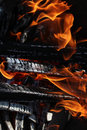 Black charred and woods wood bright flames on dark background Royalty Free Stock Image