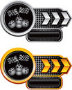 Black checkered banners with racing tires and flag Stock Images