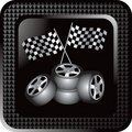 Black checkered web button racing tires and flags Stock Photo