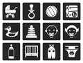 Black Child, Baby and Baby Online Shop Icons Royalty Free Stock Photo