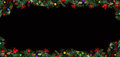 Black Christmas Background with empty copy space. Decorative xmas frame for concept or cards. Royalty Free Stock Photo