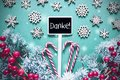 Black Christmas Sign,Lights, Frosty Look, Danke Means Thank You Royalty Free Stock Photo