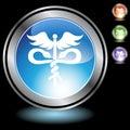 Black Chrome Icons - Caduceus Royalty Free Stock Photo