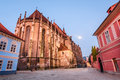Black church brasov romania night image of built in medieval times in council square in downtown of transylvania Royalty Free Stock Images