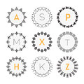 Black circle geometrical pattern labels set on white background Royalty Free Stock Photo