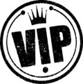 Black circle rubber stamp Vip with crown. Royalty Free Stock Photo
